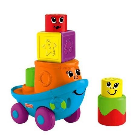 Детская игрушка Fisher Price Забавные кубики-блоки, Кораблик на колесах