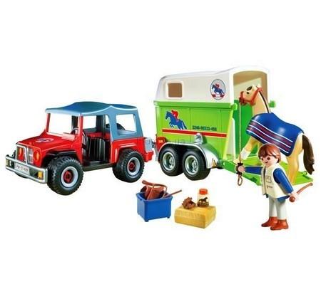 Детская игрушка Playmobil Джип с фургоном для лошадей