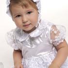 Набор крестильный для девочки с гипюром молочный и белый