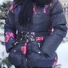 пуховик женский черный с розами