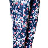 Летние брюки джинсы тонкие стрейчевые  хлопковые с цветами для девочек