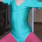 Купальник спортивный для танцев и гимнастики, зеленый.