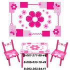 """Деревянный столик со стульчиками M 0730 """"Цветочки"""""""