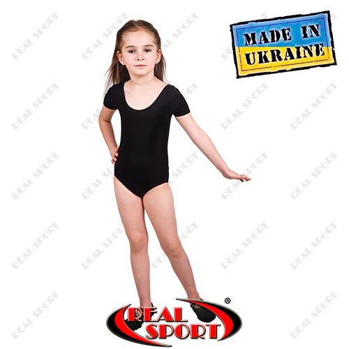 Купальник для танцев и гимнастики, короткий рукав, черный, хлопок фото №1