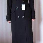 Новое приталенное длинное черное пальто р. 46 Victoria Bloom теплое двубортное шерсть деловое