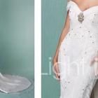 НОВОЕ свадебное платье из органзы и шифона с открытыми плечами и съемным церковным шлейфом.