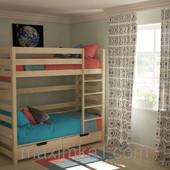 Двух ярусная подростковая кровать с двумя ящиками.