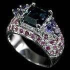 ХИТ! Серебряное Кольцо с топазом,иолитами и рубинами