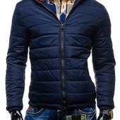 Стильная мужская  куртка на синтепоне, синяя, черная