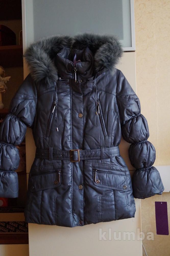 Зимнее пальто, пуховик, куртка для девочки, новое, опушка-песец, р. 38-42 фото №1