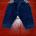 Детские теплые плотненькие штанишки,темно-синий цвет,сверху-мягкий велюр
