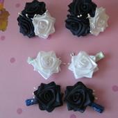 Три розы. Резинки, заколки, брошки. Разные цвета!