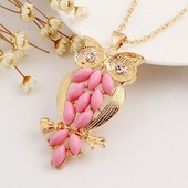 Подвеска с кулоном в виде розовой совы