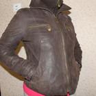 Стильна шкіряна куртка М шоколадна кожанная замшевая