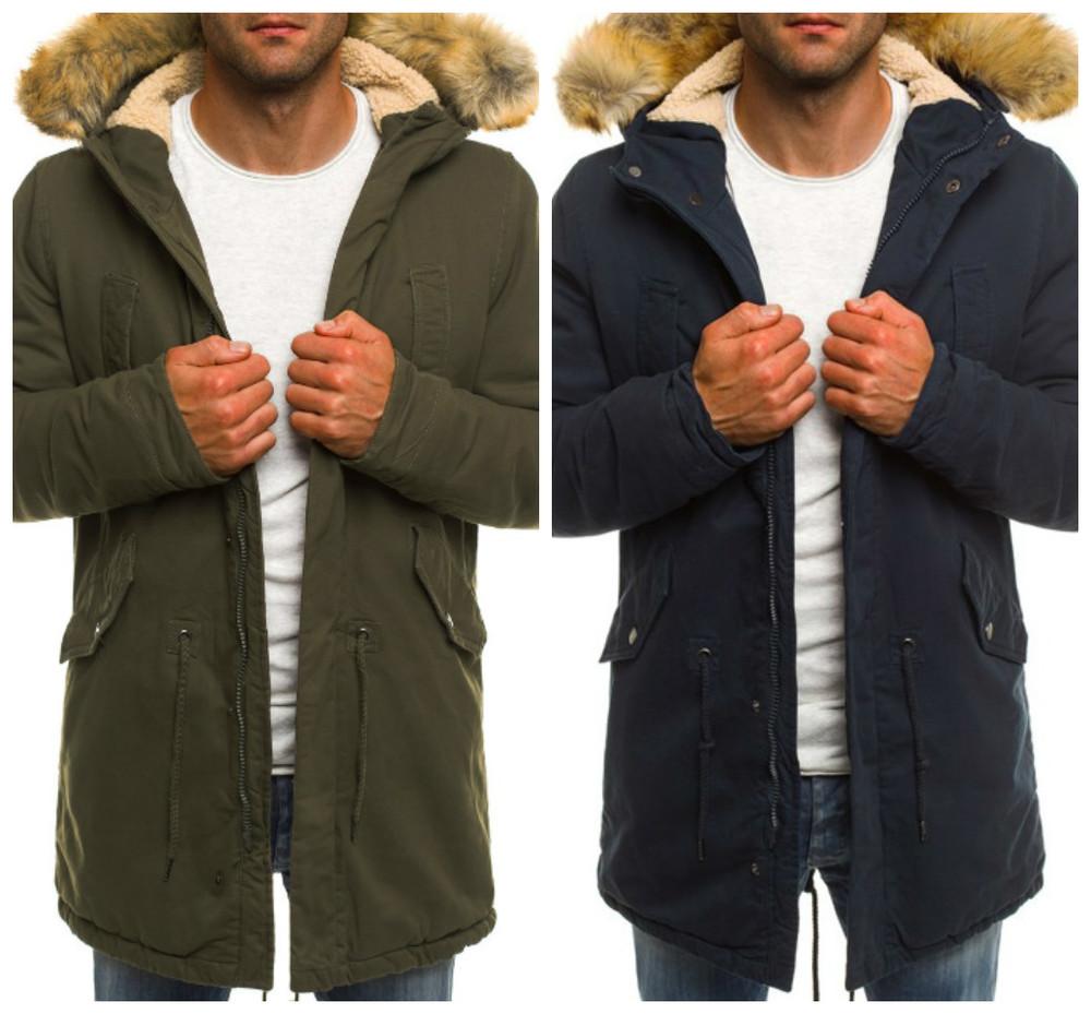 Мужская синяя и зеленая куртка парка зимняя фото №1