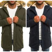 Мужская синяя и зеленая куртка парка зимняя