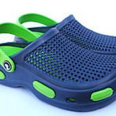 Подростковые сланцы по типу кроксы из пены ( р.42-47), код товара - синий-зеленый