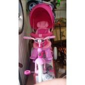 трёхколёсный велосипед-коляска Transformer Modi T500 фара (6 в 1) розовый (надувное белое кол