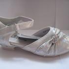 Распродажа! Праздничные туфельки для девочек серебристого цвета (23-32), код 165