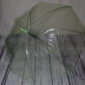 Зонтик зонт трость детский подростковый прозрачный зелёный