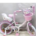 Детский велосипед двухколесный с корзинкой Kitty и креслом для куклы белые колеса 16 дюймов