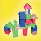 Деревянные кубики 20 цветных деталей городок Руди Д288у Дерево