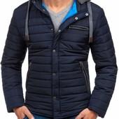 Мужская зимняя стеганная куртка с контрастным капюшоном