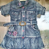 Джинсовое платье для девочки 5 -6 лет ( 116)