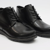 Мужские черные кожанные зимние ботинки