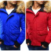 Мужская зимняя синяя и красная куртка бомбер