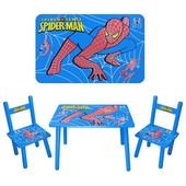 Деревянный столик и 2 стульчика! Человек-паук!