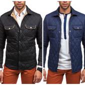 Мужская весенняя стеганная куртка синего и черного цвета