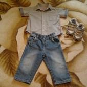 Джинсы и рубашка 9-12мес рост 74-80см