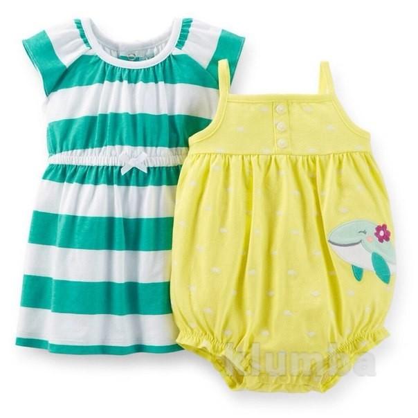 Комплект для девочки: платье и ромпер+ трусики. 12m (72-78 см) 18m (78-83см) 24m (83-86см) фото №1