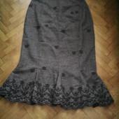 Теплая юбка с вышивкой р.40