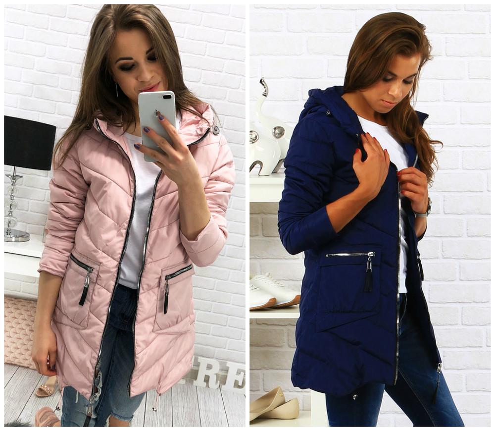 117bb6db5e2 Женская демисезонная стеганная удлиненная куртка фото №1