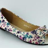 Балетки летние белые цветок Т363 р.39,40
