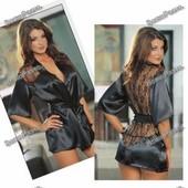 Эротический халатик для девушки черного цвета.
