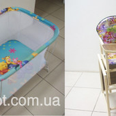 Распродажа новых манежей и стульчиков для кормления