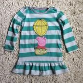 платье  хлопковое с длинным рукавом с Пепой от M&S на 2-3 года