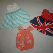 Пакет красивые платьев и ромперов  на малышку 0-3мес