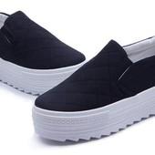 Удобные слипоны тапочки кеды кроссовки на платформе 3 цвета