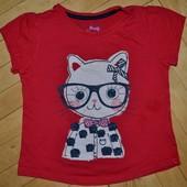 3 - 4 года Обалденная фирменная натуральная футболка девочке с кисей