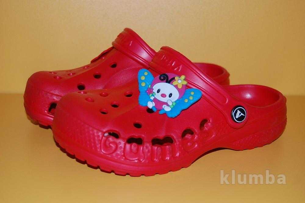 Детские кроксы красные размеры 22-33 фото №1