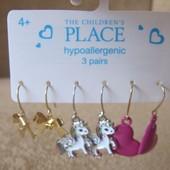 Детские сережки 3 пары гипоаллергенные из США (единороги, сердечки и бантики)