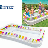 """Семейный надувной бассейн """"Прямоугольный"""" с сиденьями Intex: 295х175х53 см (Intex 57477)"""