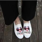 Мокасины слиперы на платформе с надписью Love. Ультрамодная обувь весна-лето 2017!!!