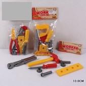 Набор детских инструментов молоток отвёртка ключ шурупы основа для вкручивания 8 эл.