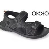Сандалии кожаные Турция Okko «Halk»на липучках черные