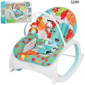 Шезлонг качалка Бемби 3248 детский с вибро режимом Bambi кресло 3249